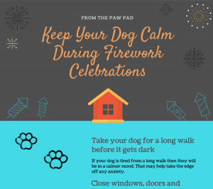 an infographic with advice about dogs and fireworks