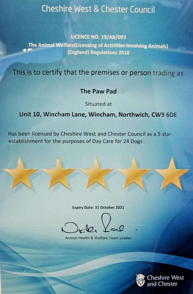 A 5 star certificate awarded to the paw pad